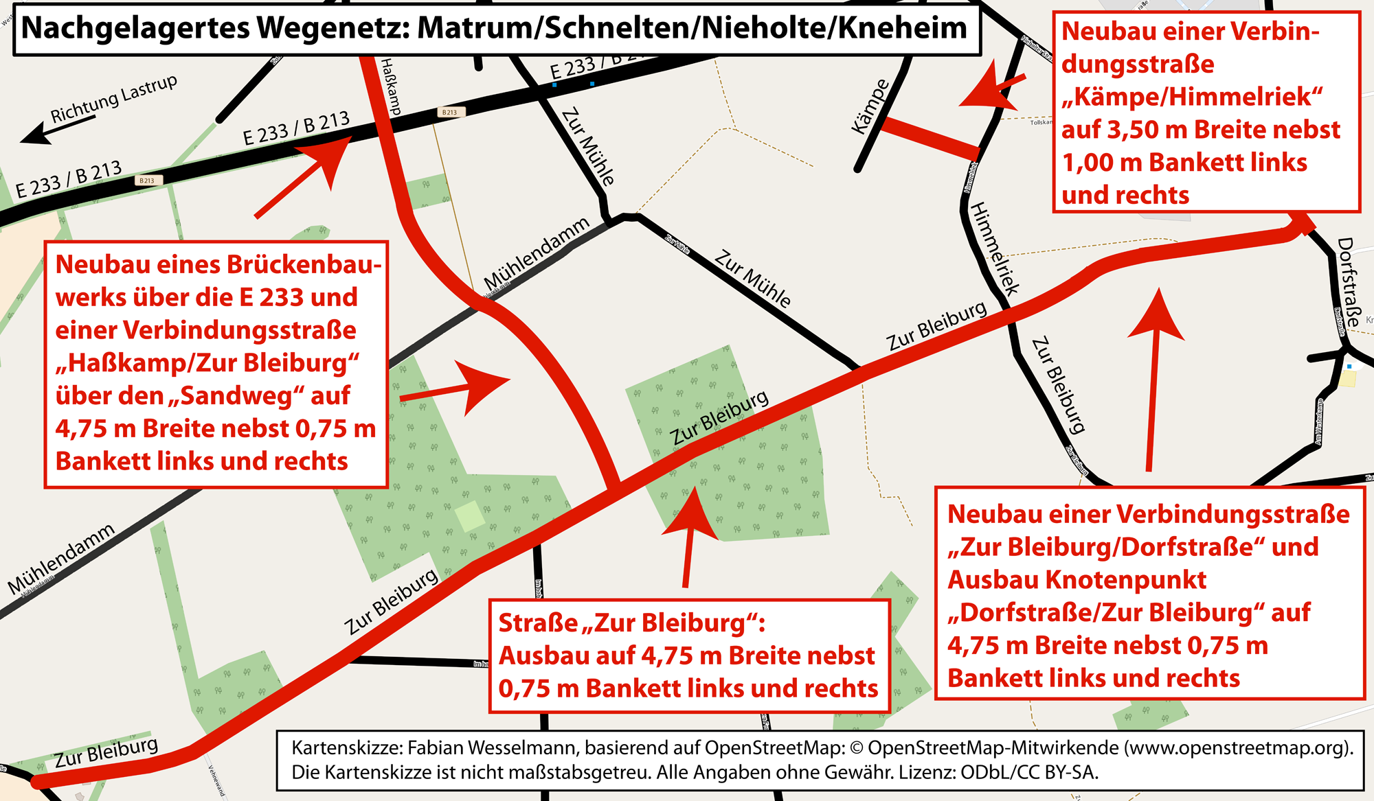 Ausbauplanungen des nachgelagerten Wegenetzes im Planungsabschnitt 6